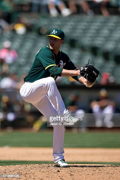 Eric O'Flaherty of the Oakland Athletics pitches against the Los Angeles Angels of Anaheim during the sixth inning at Oco Coliseum on April 30 2015...