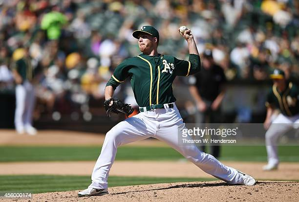 Eric O'Flaherty of the Oakland Athletics pitches against the Philadelphia Phillies in the top of the six inning at Oco Coliseum on September 20 2014...