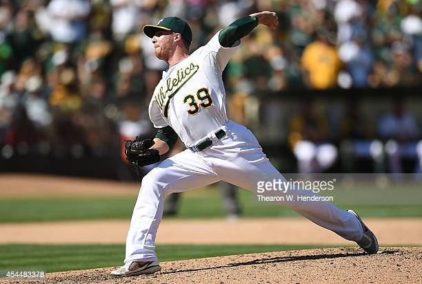 Eric O'Flaherty of the Oakland Athletics pitches against the Seattle Mariners in the top of the ninth inning at Oco Coliseum on September 1 2014 in...