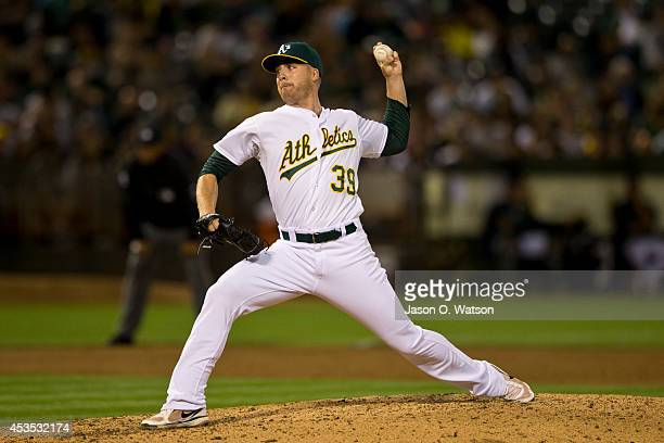 Eric O'Flaherty of the Oakland Athletics pitches against the Tampa Bay Rays during the sixth inning at Oco Coliseum on August 5 2014 in Oakland...