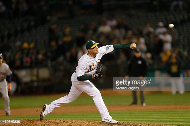 Eric O'Flaherty of the Oakland Athletics pitches during the game against the Houston Astros at Oco Coliseum on April 24 2015 in Oakland California...