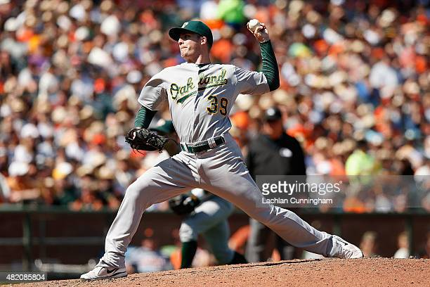 Eric O'Flaherty of the Oakland Athletics pitches in the eighth inning against the San Francisco Giants at ATT Park on July 26 2015 in San Francisco...