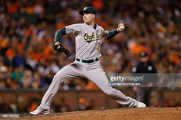 Eric O'Flaherty of the Oakland Athletics pitches in the fifth inning against the San Francisco Giants at ATT Park on July 24 2015 in San Francisco...
