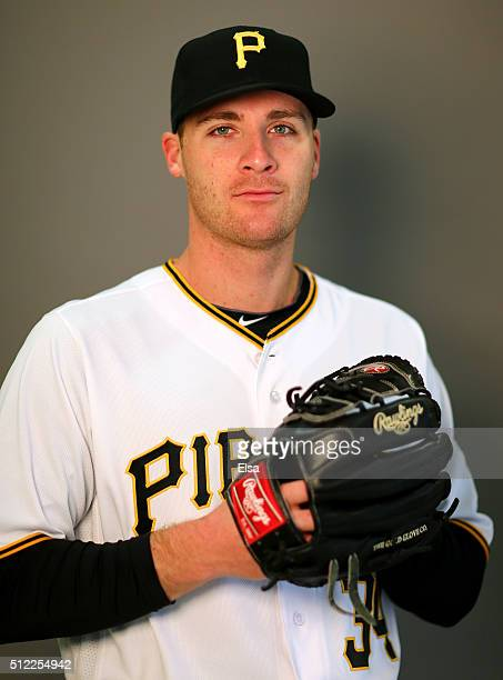 Eric O'Flaherty of the Pittsburgh Pirates poses for a portrait on February 25 2016 at Pirate City in Bradenton Florida