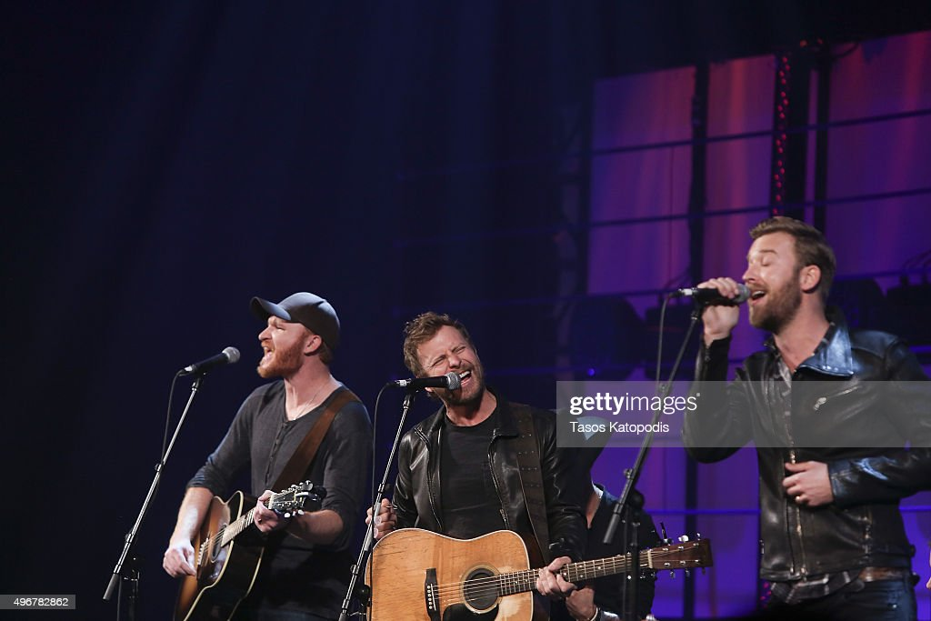 Eric Paslay Dierks Bentley and Charles Kelley perform during the CBS Radio Presents Stars Strings on November 11 2015 in Chicago Illinois