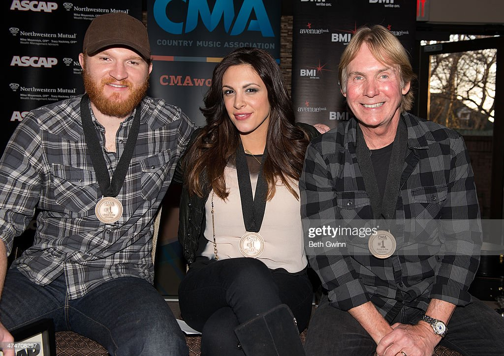 Eric Paslay Rose Falcon and Rob Crosby the songwriter's of the hit song 'Friday Nights 'attends the 'Friday Night' #1 ASCAP and BMI Party at the CMA...