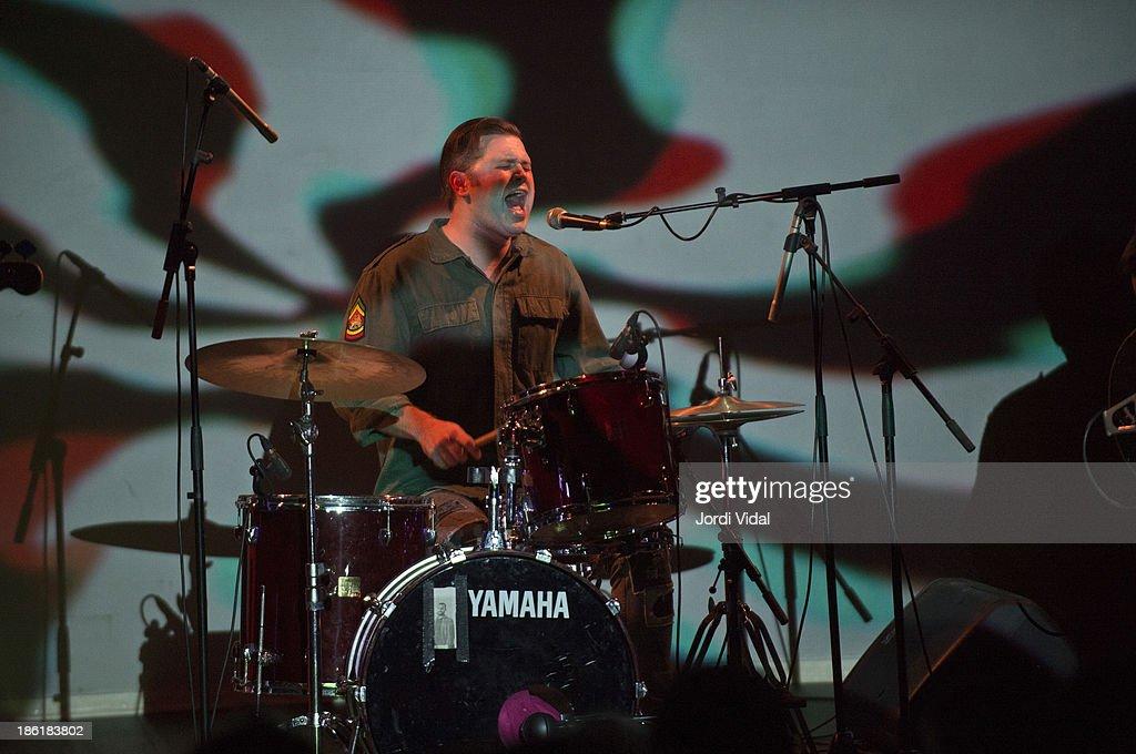 Eric Pollard of Retribution Gospel Choir performs on stage at Teatre Kursaal on October 28, 2013 in Manresa, Spain.