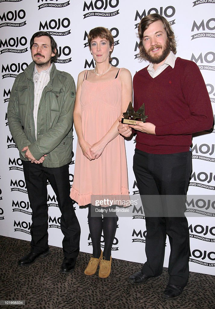 Eric Pulido (R) and Paul Alexander (L) of Midlake and <a gi-track='captionPersonalityLinkClicked' href=/galleries/search?phrase=Beth+Orton&family=editorial&specificpeople=241542 ng-click='$event.stopPropagation()'>Beth Orton</a> (C) with an award at The Mojo Honours List at The Brewery on June 10, 2010 in London, England.