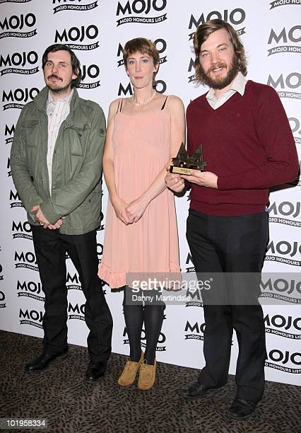 Eric Pulido and Paul Alexander of Midlake and Beth Orton with an award at The Mojo Honours List at The Brewery on June 10 2010 in London England