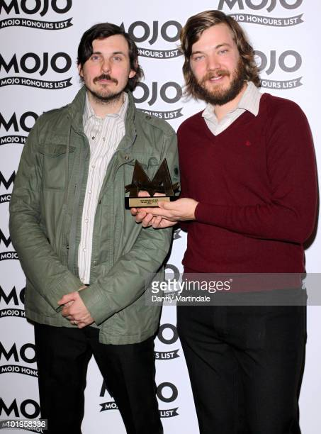 Eric Pulido and Paul Alexander of Midlake with an award at The Mojo Honours List at The Brewery on June 10 2010 in London England