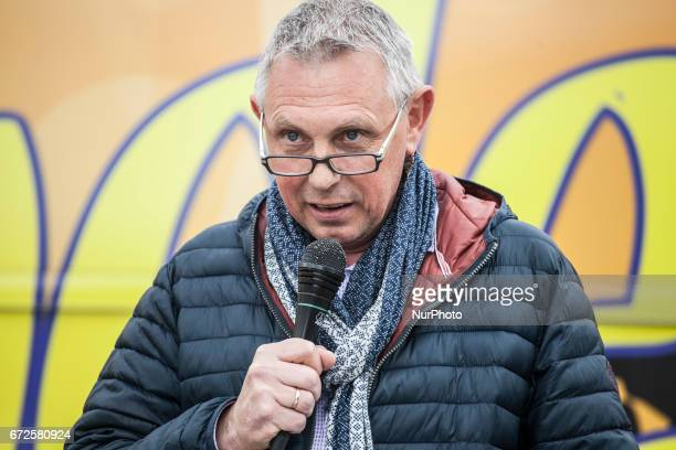 Eric Rennen council member for NVA speaks in Zaventem the city of Brussels Airport where Flemish nationalists of Vlaamse Volksbeweging marched to...