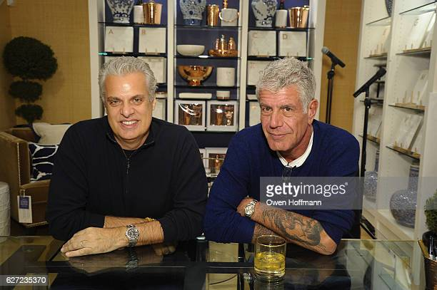 Eric Ripert and Anthony Bourdain present their new Good Evil dark chocolate bar as they attend Hey New York Meet Anthony Bourdain Eric Ripert at...
