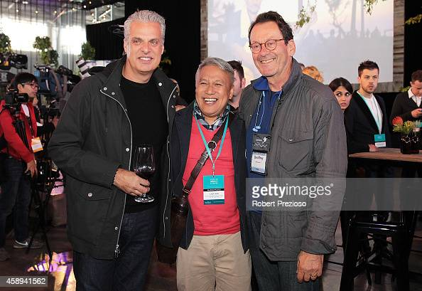 Eric Ripert Chef Wan and Geoffrey Drummond attend the Restaurant Australia Marketplace event at Macquarie Wharf on November 14 2014 in Hobart...