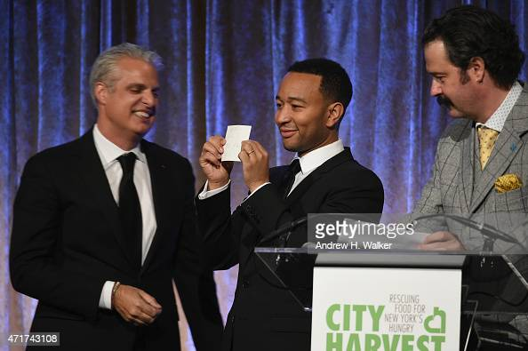 Eric Ripert John Legend and Nicholas Lowry are seen on stage during the City Harvest's 21st Annual Gala An Evening Of Practical Magic at Cipriani...