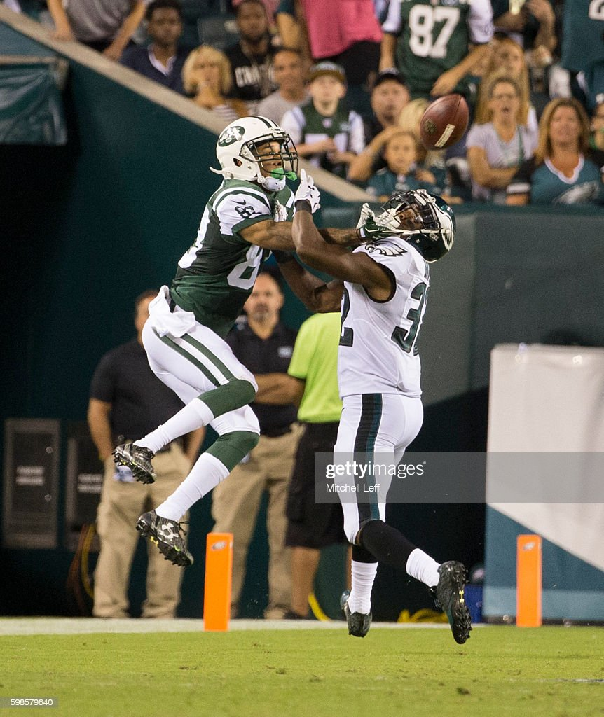 Eric Rowe #32 of the Philadelphia Eagles breaks up a pass intended for Robby Anderson #83 of the New York Jets in the fourth quarter at Lincoln Financial Field on September 1, 2016 in Philadelphia, Pennsylvania. The Eagles defeated the Jets 14-6.