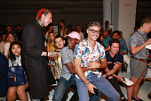 Eric Rutherford and guests enjoy a moment front row at Parke Ronen Spring 2017 fashion presentation during New York Fashion Week Men's at Skylight...