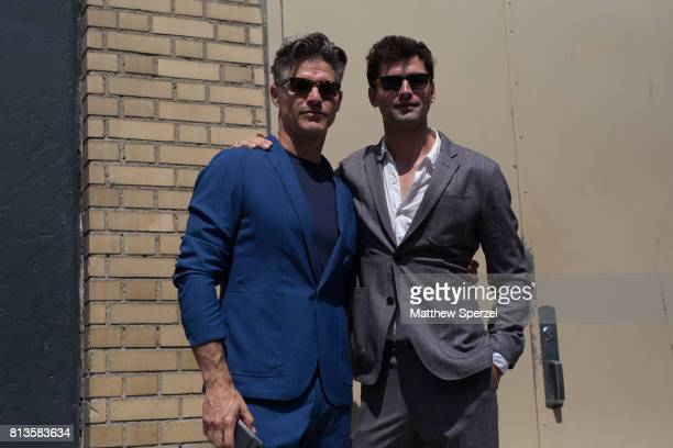 Eric Rutherford and Sean O'Pry are seen attending You As at Skylight Clarkson during Men's New York Fashion Week wearing ESM on July 12 2017 in New...