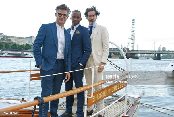 Eric Rutherford Eric Underwood and Richard Biedul attend the Henley Royal Regatta and their official partner Hackett London launch event during LFWM...