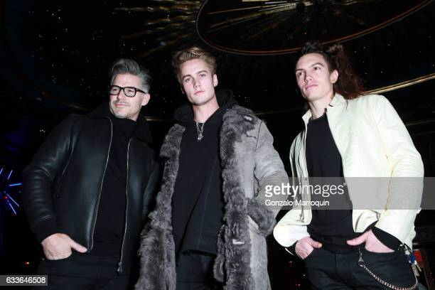 Eric Rutherford Neels Visser and Ian Mellencamp at the John Varvatos Front Row New York Fashion Week Men's F/W 2017 at Diamond Horseshoe on February...