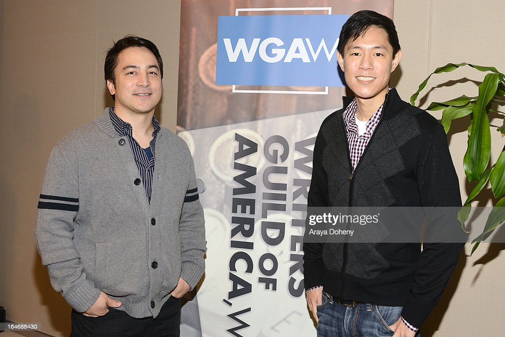 Eric S. Garcia and Leo Chu attend the WGAW's 2013 TV Staffing Brief - Press Conference on March 26, 2013 in Los Angeles, California.