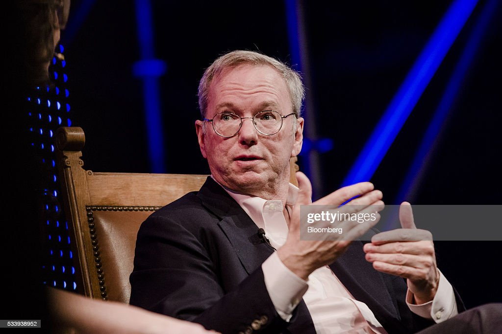 Eric Schmidt, chairman of Alphabet Inc., gestures whilst speaking during the opening of 'Startup Fest', a five-day conference to showcase Dutch innovation, in Amsterdam, Netherlands, on Tuesday, May 24, 2016. The Digital City Index for 2015 ranked Amsterdam Europe's second-best city, behind London, for tech startups. Photographer: Marlene Awaad/Bloomberg via Getty Images