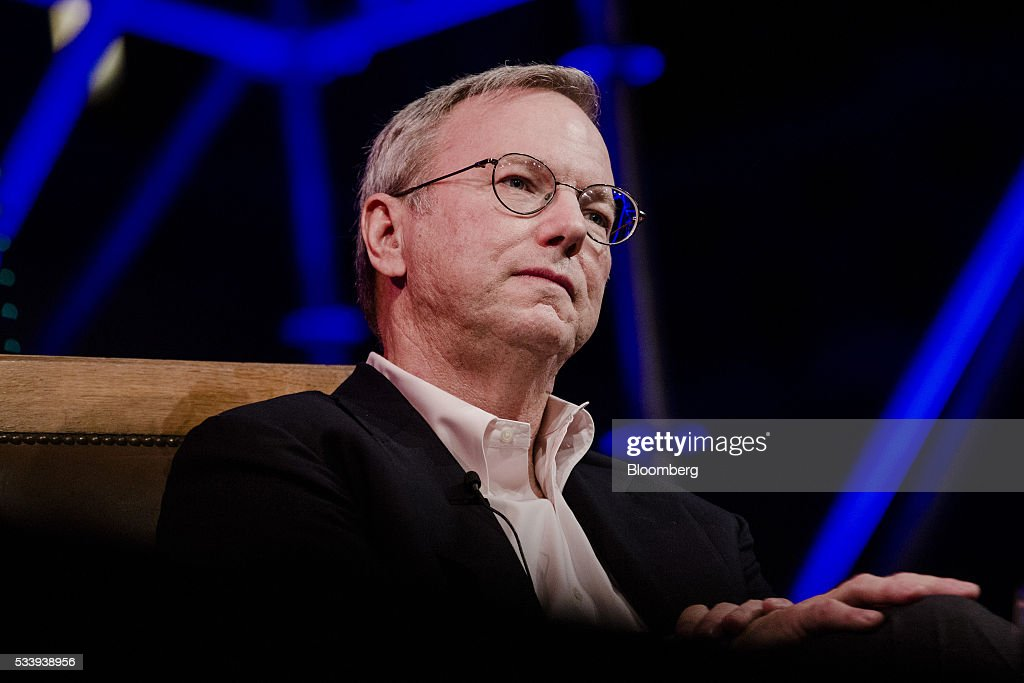 Eric Schmidt, chairman of Alphabet Inc., pauses during the opening of 'Startup Fest', a five-day conference to showcase Dutch innovation, in Amsterdam, Netherlands, on Tuesday, May 24, 2016. The Digital City Index for 2015 ranked Amsterdam Europe's second-best city, behind London, for tech startups. Photographer: Marlene Awaad/Bloomberg via Getty Images