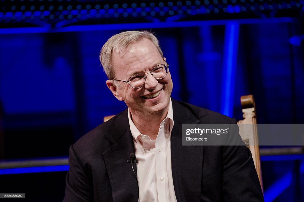 Eric Schmidt, chairman of Alphabet Inc., reacts during the opening of 'Startup Fest', a five-day conference to showcase Dutch innovation, in Amsterdam, Netherlands, on Tuesday, May 24, 2016. The Digital City Index for 2015 ranked Amsterdam Europe's second-best city, behind London, for tech startups. Photographer: Marlene Awaad/Bloomberg via Getty Images