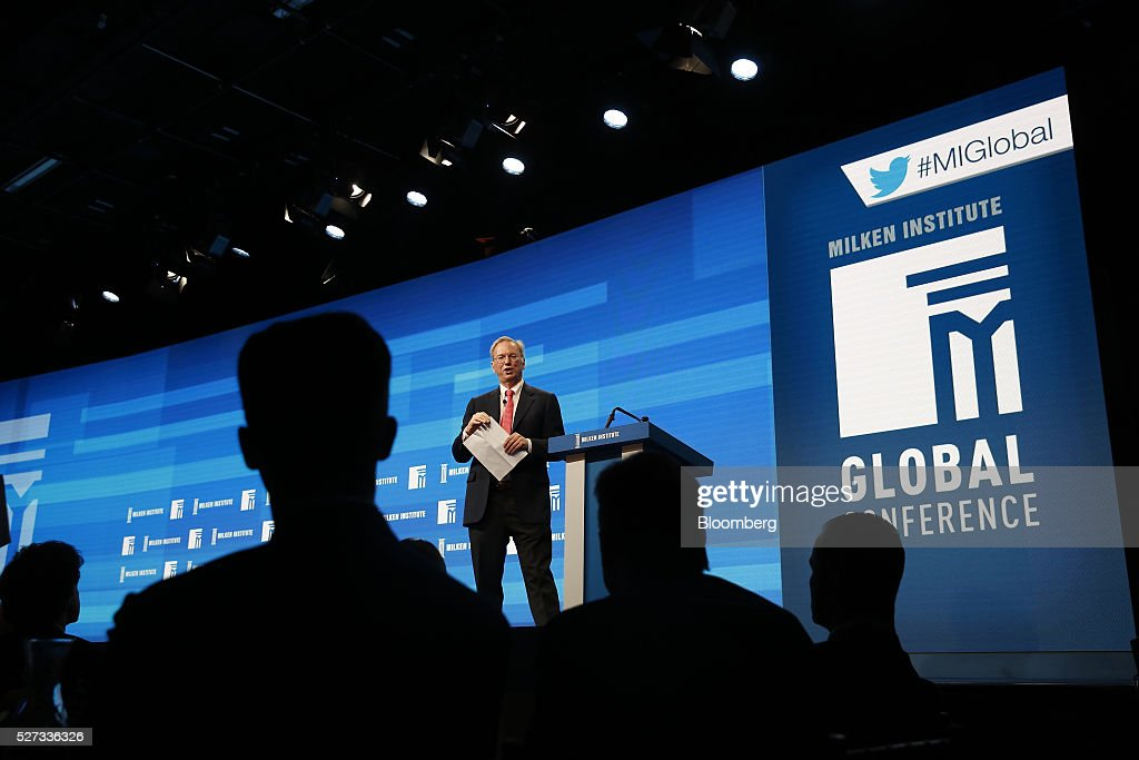 Eric Schmidt, chairman of Alphabet Inc., speaks during the annual Milken Institute Global Conference in Beverly Hills, California, U.S., on Monday, May 2, 2016. The conference gathers attendees to explore solutions to today's most pressing challenges in financial markets, industry sectors, health, government and education. Photographer: Patrick T. Fallon/Bloomberg via Getty Images