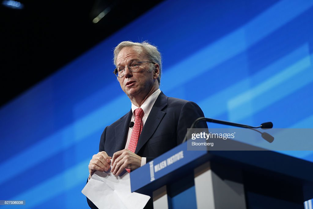 <a gi-track='captionPersonalityLinkClicked' href=/galleries/search?phrase=Eric+Schmidt&family=editorial&specificpeople=5515021 ng-click='$event.stopPropagation()'>Eric Schmidt</a>, chairman of Alphabet Inc., speaks during the annual Milken Institute Global Conference in Beverly Hills, California, U.S., on Monday, May 2, 2016. The conference gathers attendees to explore solutions to today's most pressing challenges in financial markets, industry sectors, health, government and education. Photographer: Patrick T. Fallon/Bloomberg via Getty Images