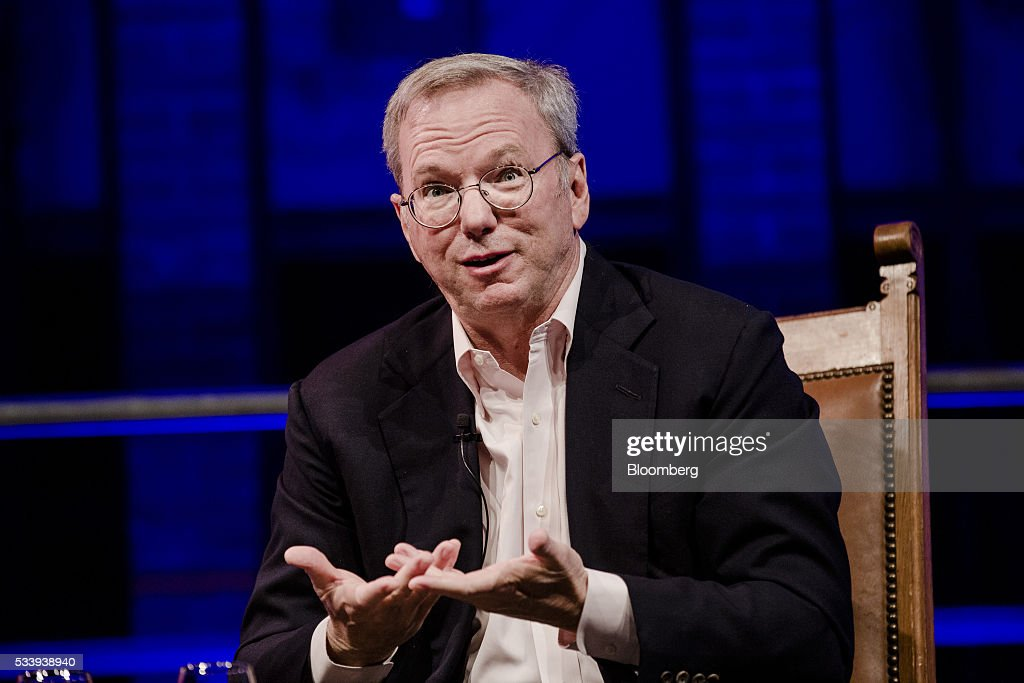 Eric Schmidt, chairman of Alphabet Inc., speaks during the opening of 'Startup Fest', a five-day conference to showcase Dutch innovation, in Amsterdam, Netherlands, on Tuesday, May 24, 2016. The Digital City Index for 2015 ranked Amsterdam Europe's second-best city, behind London, for tech startups. Photographer: Marlene Awaad/Bloomberg via Getty Images