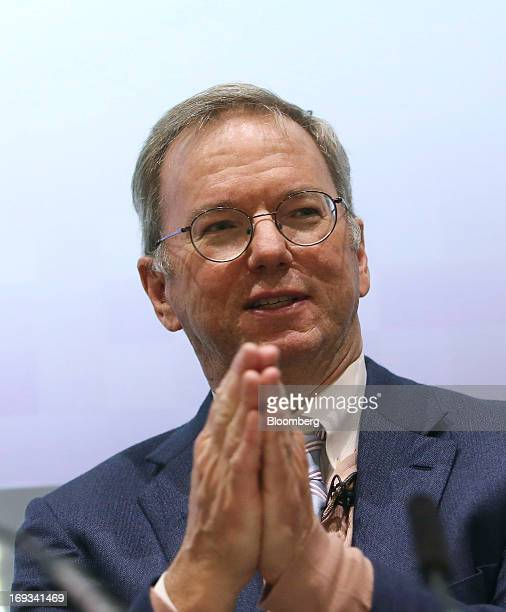 Eric Schmidt chairman of Google Inc speaks during a new digital age event at the London School of Economics in London UK on Thursday May 23 2013 UK...