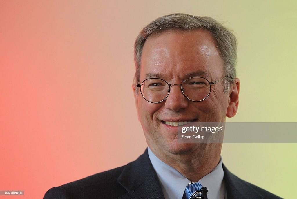 <a gi-track='captionPersonalityLinkClicked' href=/galleries/search?phrase=Eric+Schmidt&family=editorial&specificpeople=5515021 ng-click='$event.stopPropagation()'>Eric Schmidt</a>, Chairman of the Board and Chief Executive Officer of Google, speaks to students at Humboldt University on February 16, 2011 in Berlin, Germany. Schmidt was speaking on 'Google in Europe: Innovations for a digital future.'