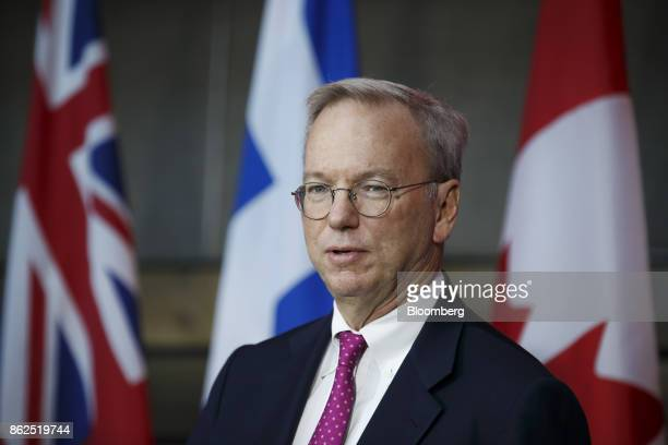 Eric Schmidt chief executive officer of Alphabet Inc speaks during an event in Toronto Ontario Canada on Tuesday Oct 17 2017 Sidewalk Labs LLC the...