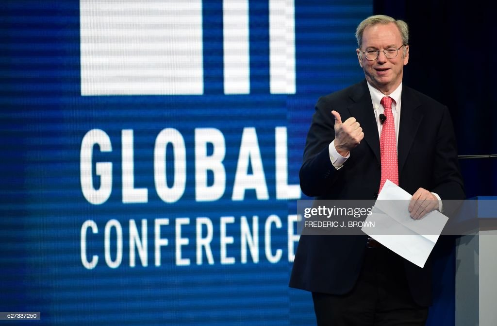 Eric Schmidt, Executive Chairman, Alphabet, addresses the audience during the lunch program 'The Future of Humankind' at the 2016 Milken Institute Global Conference in Beverly Hills, California on May 2, 2016. / AFP / FREDERIC