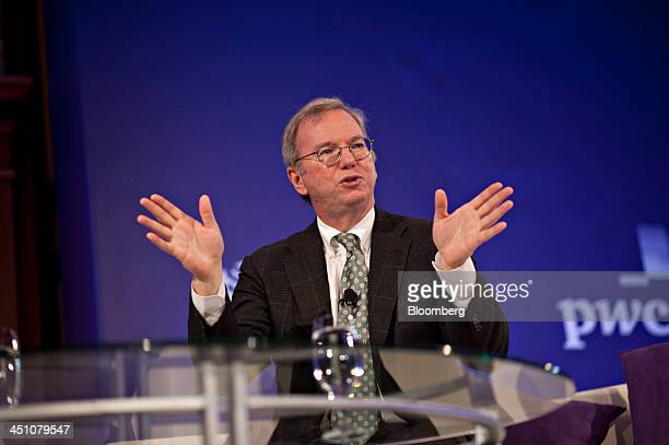 Eric Schmidt executive chairman at Google Inc speaks at the Bloomberg Year Ahead 2014 conference in Chicago Illinois US on Thursday Nov 21 2013...