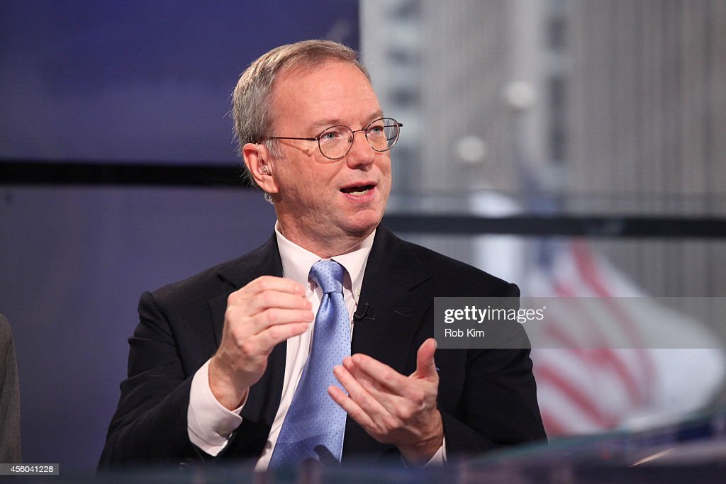 <a gi-track='captionPersonalityLinkClicked' href=/galleries/search?phrase=Eric+Schmidt&family=editorial&specificpeople=5515021 ng-click='$event.stopPropagation()'>Eric Schmidt</a>, Executive Chairman, Google visits FOX Business Network's 'Opening Bell With Maria Bartiromo' at FOX Studios on September 24, 2014 in New York City.