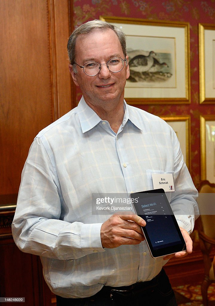 Eric Schmidt, executive chairman of Google, Google's Nexus 7 Android tablet during the Allen & Company Sun Valley Conference on July 12, 2012 in Sun Valley, Idaho. Since 1983, the investment firm Allen & Company has annually hosted the media and technology conference which is usually attended by powerful media executives.