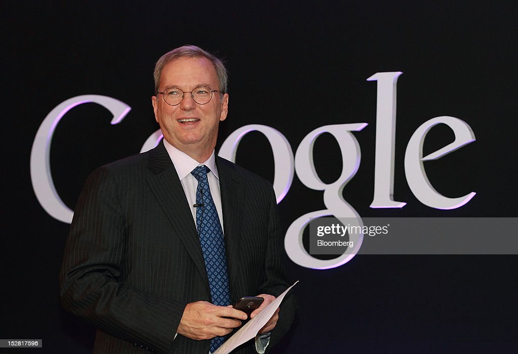 Eric Schmidt, executive chairman of Google Inc., attends a news conference in Seoul, South Korea, on Thursday, Sept. 27, 2012. Google Inc. will start selling its Nexus 7 tablet in South Korea on Oct. 7 to meet demand for mobile devices on the home turf of Samsung Electronics Co., the world's biggest seller of smartphones. Photographer: SeongJoon Cho/Bloomberg via Getty Images