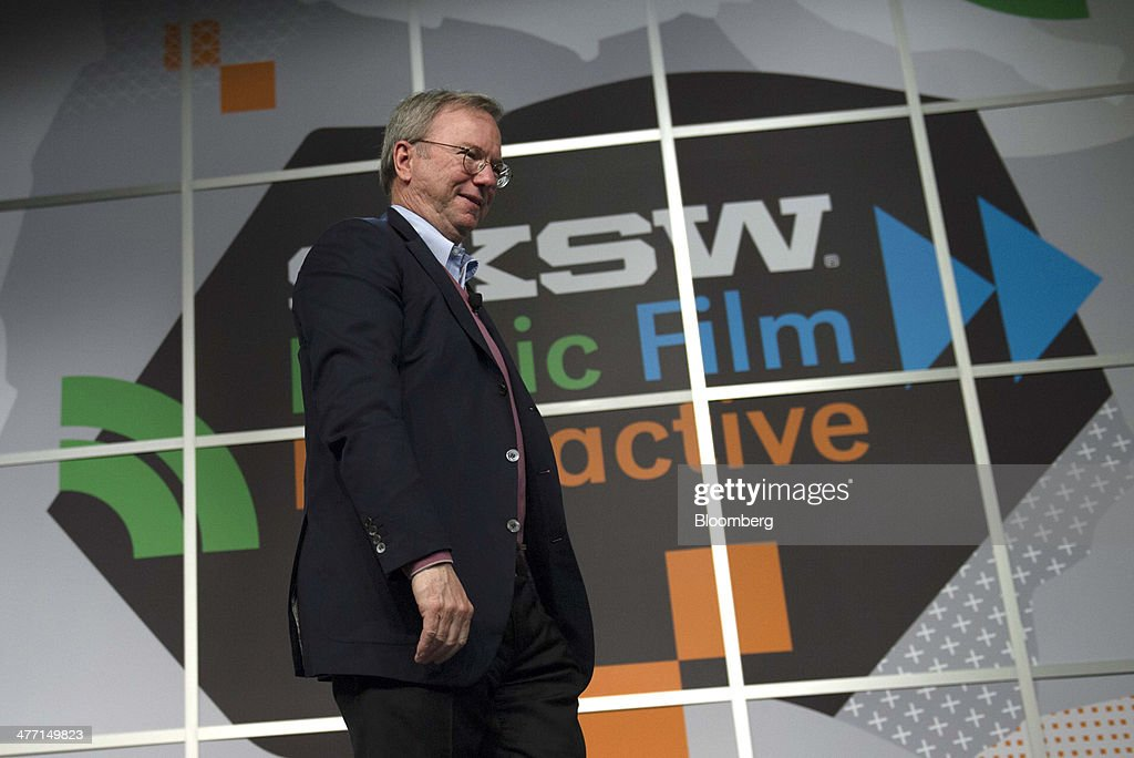 Eric Schmidt, executive chairman of Google Inc., exits after speaking at the South By Southwest (SXSW) Interactive Festival in Austin, Texas, U.S., on Friday, March 7, 2014. The SXSW conferences and festivals converge original music, independent films, and emerging technologies while fostering creative and professional growth. Photographer: David Paul Morris/Bloomberg via Getty Images