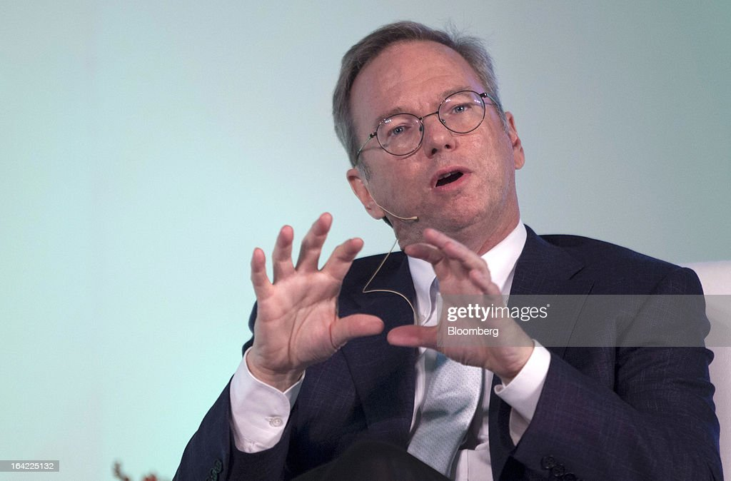 Eric Schmidt, executive chairman of Google Inc., gestures whilst speaking during the Big Tent Activate Summit in New Delhi, India, on Thursday, March 21, 2013. Schmidt says it is very important that the Indian government respects the right to privacy as the internet grows. Photographer: Prashanth Vishwanathan/Bloomberg via Getty Images