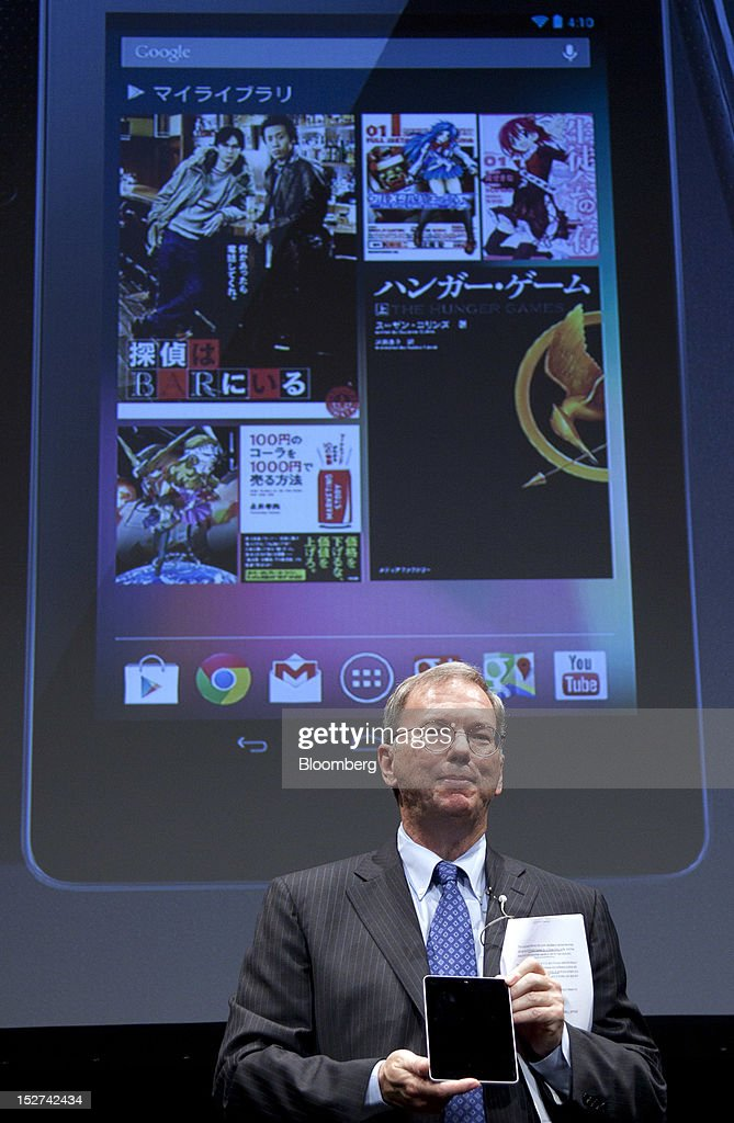 Eric Schmidt, executive chairman of Google Inc., holds the Nexus 7 tablet computer during a news conference in Tokyo, Japan, on Tuesday, Sept. 25, 2012. Google said it will sell its Nexus 7 handheld computers in Japan, where annual shipments of tablet devices may triple to 11 million units in five years. Photographer: Tomohiro Ohsumi/Bloomberg via Getty Images