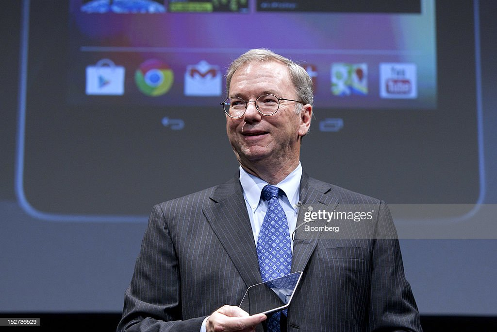 <a gi-track='captionPersonalityLinkClicked' href=/galleries/search?phrase=Eric+Schmidt&family=editorial&specificpeople=5515021 ng-click='$event.stopPropagation()'>Eric Schmidt</a>, executive chairman of Google Inc., holds the Nexus 7 tablet computer while he speaks during a news conference in Tokyo, Japan, on Tuesday, Sept. 25, 2012. Google said it will sell its Nexus 7 handheld computers in Japan, where annual shipments of tablet devices may triple to 11 million units in five years. Photographer: Tomohiro Ohsumi/Bloomberg via Getty Images