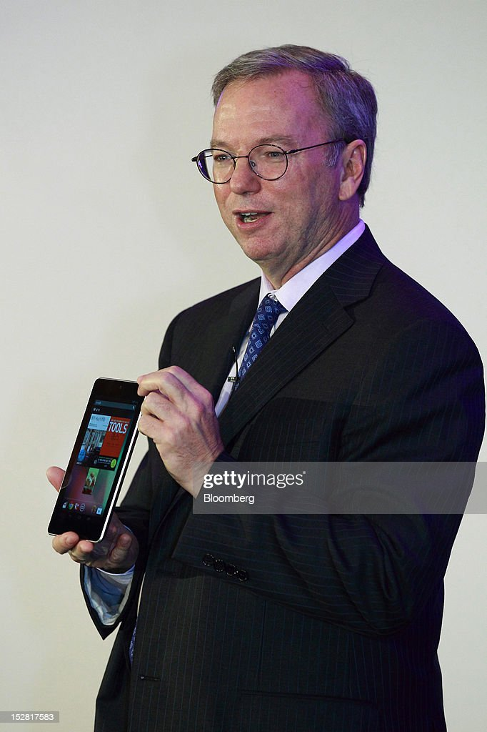 Eric Schmidt, executive chairman of Google Inc., presents a Nexus 7 tablet during a news conference in Seoul, South Korea, on Thursday, Sept. 27, 2012. Google Inc. will start selling its Nexus 7 tablet in South Korea on Oct. 7 to meet demand for mobile devices on the home turf of Samsung Electronics Co., the world's biggest seller of smartphones. Photographer: SeongJoon Cho/Bloomberg via Getty Images