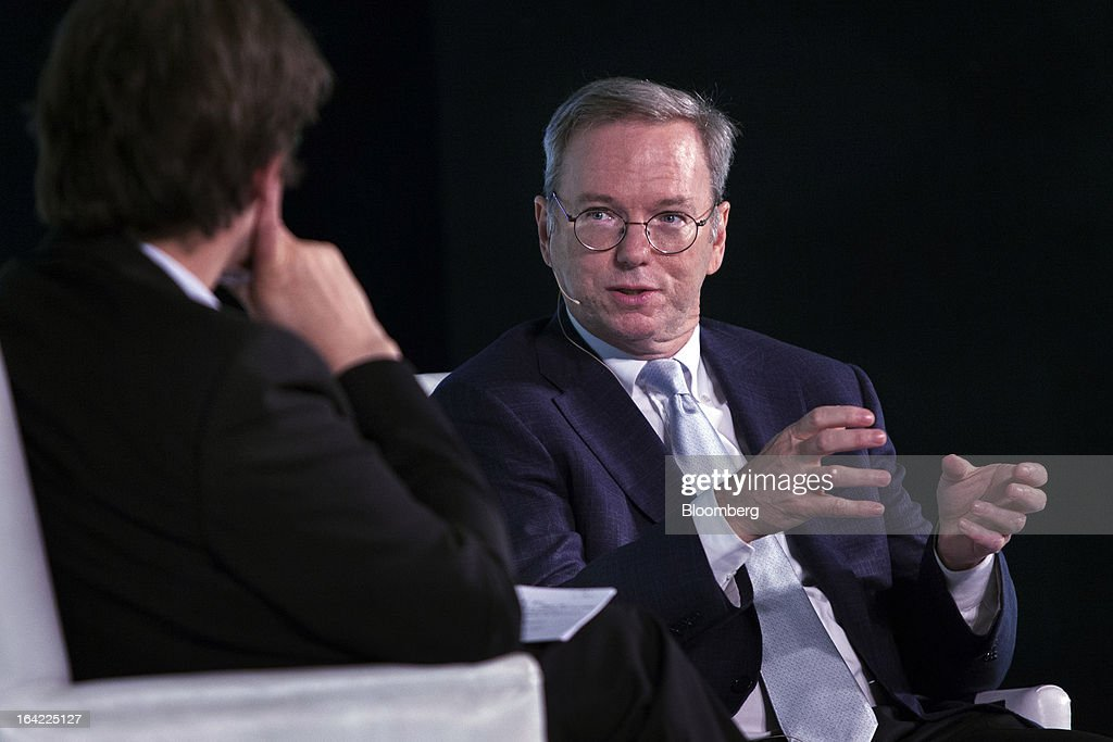 Eric Schmidt, executive chairman of Google Inc., right, speaks during the Big Tent Activate Summit in New Delhi, India, on Thursday, March 21, 2013. Schmidt says it is very important that the Indian government respects the right to privacy as the internet grows. Photographer: Prashanth Vishwanathan/Bloomberg via Getty Images