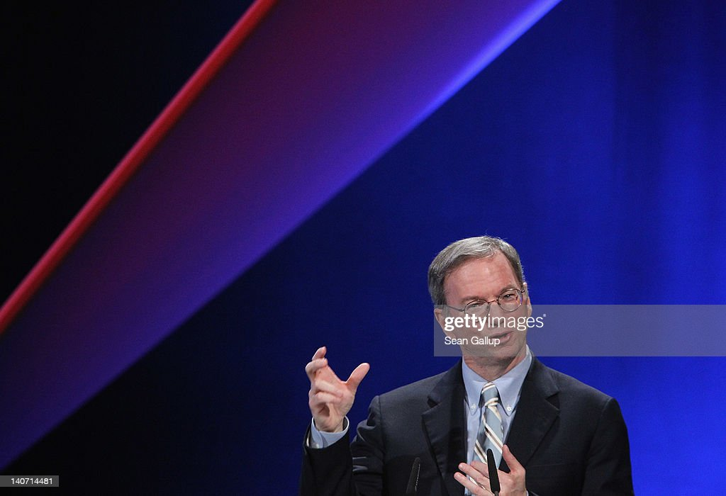 <a gi-track='captionPersonalityLinkClicked' href=/galleries/search?phrase=Eric+Schmidt&family=editorial&specificpeople=5515021 ng-click='$event.stopPropagation()'>Eric Schmidt</a>, Executive Chairman of Google Inc., speaks at the opening ceremony of the CeBIT 2012 technology trade fair on March 5, 2012 in Hanover, Germany. CeBIT 2012, the world's largest information technology trade fair, will run from March 6-10, and advances in cloud computing and security are major features this year.