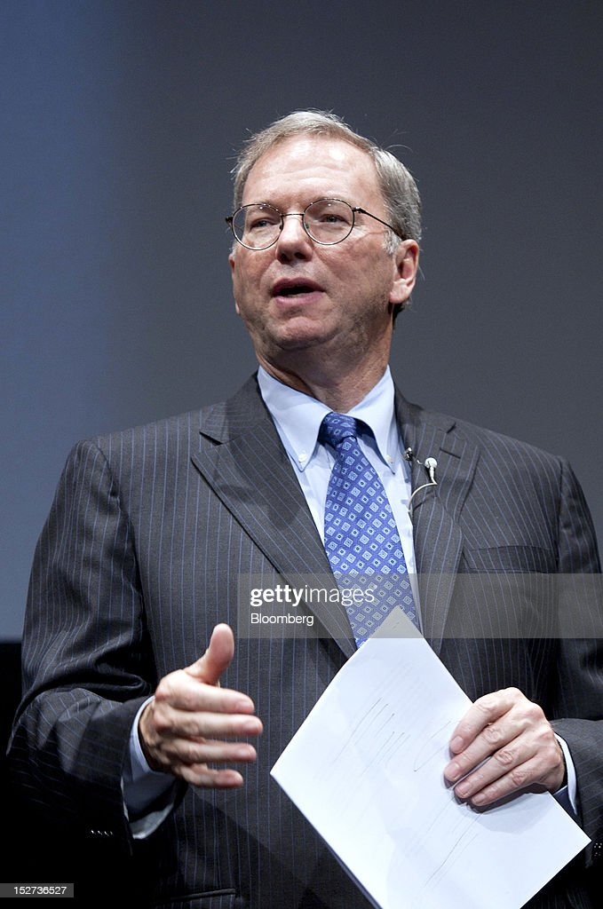 <a gi-track='captionPersonalityLinkClicked' href=/galleries/search?phrase=Eric+Schmidt&family=editorial&specificpeople=5515021 ng-click='$event.stopPropagation()'>Eric Schmidt</a>, executive chairman of Google Inc., speaks during a news conference in Tokyo, Japan, on Tuesday, Sept. 25, 2012. Google said it will sell its Nexus 7 handheld computers in Japan, where annual shipments of tablet devices may triple to 11 million units in five years. Photographer: Tomohiro Ohsumi/Bloomberg via Getty Images