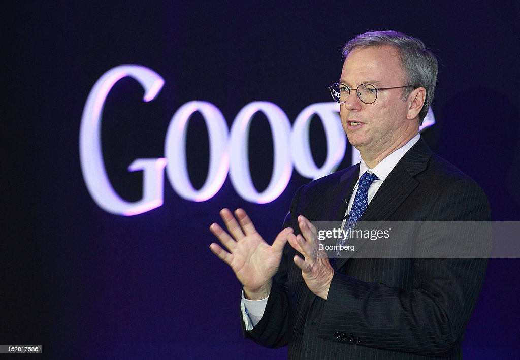 <a gi-track='captionPersonalityLinkClicked' href=/galleries/search?phrase=Eric+Schmidt&family=editorial&specificpeople=5515021 ng-click='$event.stopPropagation()'>Eric Schmidt</a>, executive chairman of Google Inc., speaks during a news conference in Seoul, South Korea, on Thursday, Sept. 27, 2012. Google Inc. will start selling its Nexus 7 tablet in South Korea on Oct. 7 to meet demand for mobile devices on the home turf of Samsung Electronics Co., the world's biggest seller of smartphones. Photographer: SeongJoon Cho/Bloomberg via Getty Images