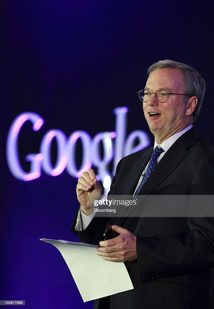 Eric Schmidt, executive chairman of Google Inc., speaks during a news conference in Seoul, South Korea, on Thursday, Sept. 27, 2012. Google Inc. will start selling its Nexus 7 tablet in South Korea on Oct. 7 to meet demand for mobile devices on the home turf of Samsung Electronics Co., the world's biggest seller of smartphones. Photographer: SeongJoon Cho/Bloomberg via Getty Images