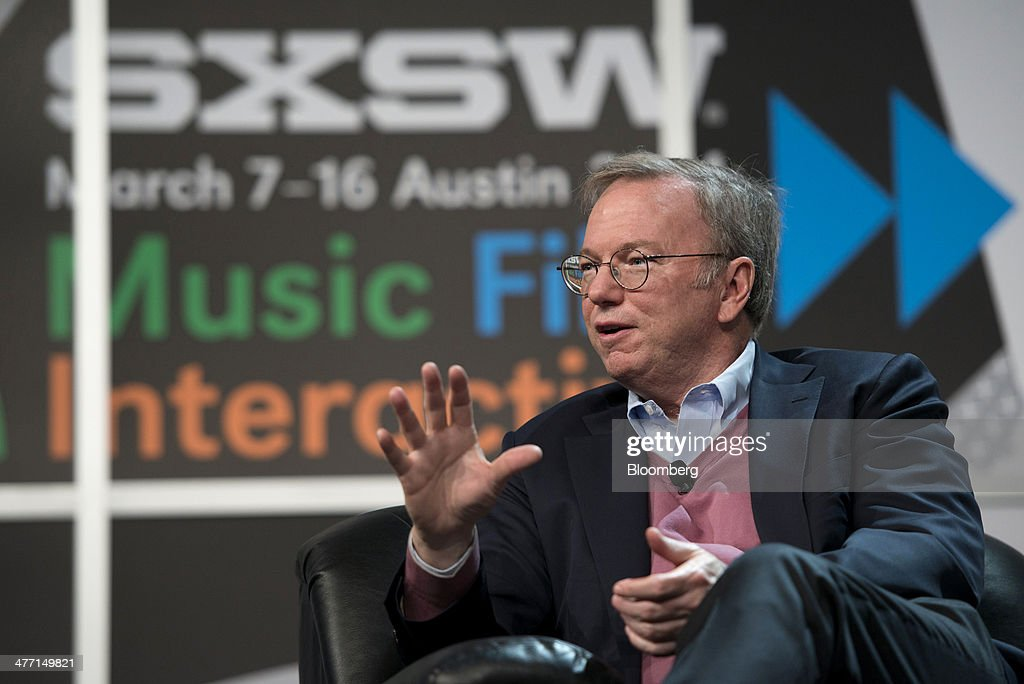 Eric Schmidt, executive chairman of Google Inc., speaks during the South By Southwest (SXSW) Interactive Festival in Austin, Texas, U.S., on Friday, March 7, 2014. The SXSW conferences and festivals converge original music, independent films, and emerging technologies while fostering creative and professional growth. Photographer: David Paul Morris/Bloomberg via Getty Images