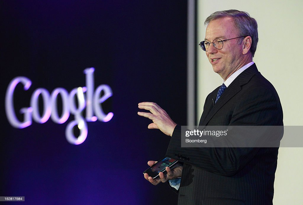Eric Schmidt, executive chairman of Google Inc., speaks while holding a Nexus 7 tablet during a news conference in Seoul, South Korea, on Thursday, Sept. 27, 2012. Google Inc. will start selling its Nexus 7 tablet in South Korea on Oct. 7 to meet demand for mobile devices on the home turf of Samsung Electronics Co., the world's biggest seller of smartphones. Photographer: SeongJoon Cho/Bloomberg via Getty Images